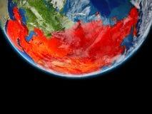 L'Asie en rouge sur terre illustration stock
