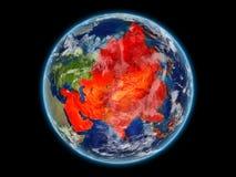 L'Asie en rouge sur terre de l'espace illustration de vecteur