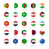 L'Asie Moyen-Orient et les icônes de drapeau de l'Asie du sud Conception plate d'hexagone Photo libre de droits