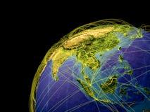 L'Asie sur terre avec des frontières illustration stock