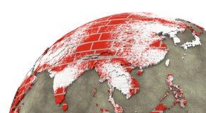 L'Asie sur terre de mur de briques Photographie stock