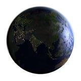 L'Asie sur terre la nuit d'isolement sur le blanc Image libre de droits