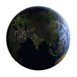 L'Asie sur terre la nuit d'isolement sur le blanc Photo stock