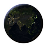L'Asie sur terre la nuit d'isolement sur le blanc Images libres de droits