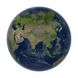 L'Asie sur terre la nuit d'isolement sur le blanc Images stock