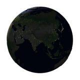 L'Asie sur terre la nuit d'isolement sur le blanc Photographie stock