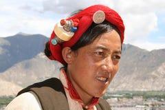 l'Asie, Thibet, Tibétain de femme de verticale photos stock