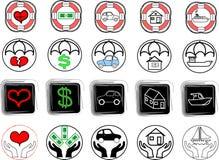 L'assicurazione scarabocchia le icone Fotografia Stock Libera da Diritti