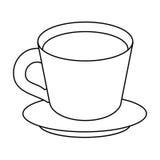 l'assiette creuse de café amincissent la ligne illustration libre de droits