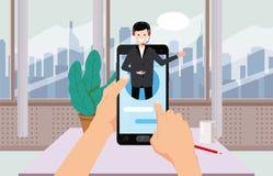L'assistant en ligne de concept, mains tiennent le smartpnone, le client et l'opérateur, centre d'appel, le support technique glo illustration stock