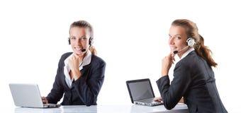 L'assistente della call center che risponde alle chiamate Fotografia Stock