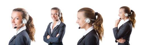 L'assistente della call center che risponde alle chiamate immagini stock
