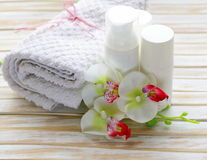 L'assortiment des pots écrème la lotion Photos stock
