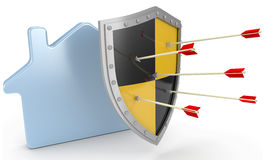 L'assurance de bouclier de sécurité protègent le risque à la maison Images stock