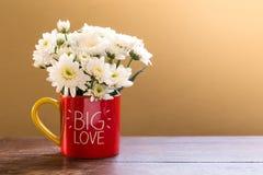 L'aster blanc fleurit dans la tasse de café rouge avec de GRANDES lettres d'AMOUR sur la table en bois Photos stock