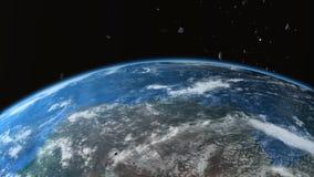 L'asteroïde se brise avec la terre illustration libre de droits