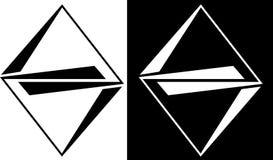 L'astrazione dai profili dei triangoli è isolata e contro un logo scuro di affari di progettazione del fondo Fotografia Stock