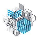 L'astrazione isometrica con le linee e gli elementi differenti, vector il fondo astratto Composizione dei cubi, esagoni, quadrati royalty illustrazione gratis