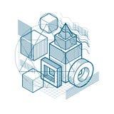 L'astrazione isometrica con le linee e gli elementi differenti, vector il fondo astratto Composizione dei cubi, esagoni, quadrati illustrazione vettoriale