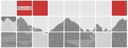 L'astrazione piastrellata in bianco e nero con la montagna rossa delle inserzioni atterra illustrazione di stock