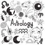 L'astrologia e la predizione scarabocchiano lo scarabocchio di simbolo e del segno royalty illustrazione gratis
