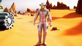 L'astronauta ai ritorni di Marte al suo guasta Rover dopo l'esplorazione del pianeta Un concetto futuristico di una colonizzazion royalty illustrazione gratis