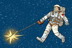 L'astronauta cammina una stella come un cane Fotografie Stock Libere da Diritti