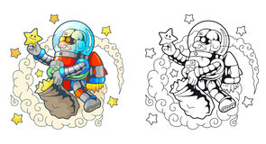 L'astronauta divertente raccoglie le stelle Fotografia Stock