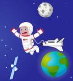 L'astronauta nello spazio cosmico illustrazione vettoriale