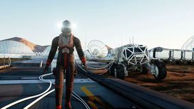 L'astronauta sopra guasta la colonia Marziano sopra guasta Pianeta straniero Concetto di fantascienza Animazione realistica 4K royalty illustrazione gratis