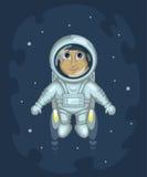 L'astronauta sta volando nello spazio cosmico Fotografie Stock