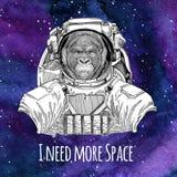 L'astronaute animal Gorilla, singe, imitent le fond de port animal terrible de l'espace de galaxie de costume d'espace avec les é Photos libres de droits