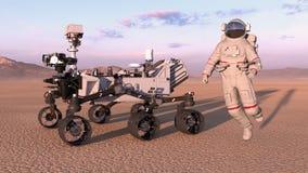 L'astronaute avec trouble le vagabond, cosmonaute sautant à côté du véhicule autonome de l'espace robotique sur une planète aband illustration libre de droits