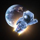 L'astronaute conquiert l'espace extra-atmosphérique illustration de vecteur