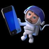 l'astronaute 3d fait un appel dans l'espace Images stock