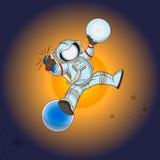 L'astronaute dans l'espace extra-atmosphérique Photographie stock libre de droits