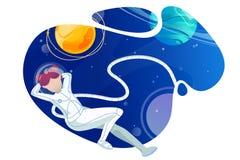 L'astronaute de femme détend dans l'espace illustration de vecteur