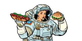 L'astronaute de femme mange Kola, hot-dog et aliments de préparation rapide d'hamburger Isolat illustration stock