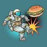 L'astronaute donne un coup de pied les aliments de préparation rapide d'hamburger, nutrition appropriée illustration de vecteur