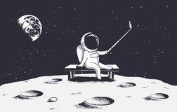 L'astronaute font le selfie sur la lune illustration libre de droits