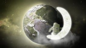 L'astronaute regarde la terre des solides totaux d'Elemen de lune de cet ima Photographie stock