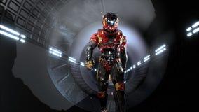 L'astronaute traverse un tunnel futuriste de la science fiction avec les étincelles et la fumée, la vue intérieure rendu 3d illustration stock