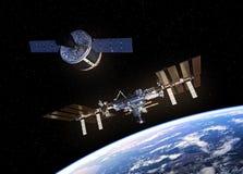 L'astronave del carico sta preparando mettersi in bacino con la stazione spaziale Fotografia Stock