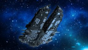 L'astronave straniera nell'universo, volo del veicolo spaziale nello spazio profondo con le stelle nei precedenti, la vista dal b royalty illustrazione gratis
