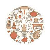 L'atelier de poterie, céramique classe l'illustration de bannière Ligne icône de vecteur des outils de studio d'argile Bâtiment d illustration libre de droits