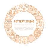 L'atelier de poterie, céramique classe l'illustration de bannière Ligne icône de vecteur des outils de studio d'argile Bâtiment d illustration stock