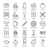 L'atelier de poterie, céramique classe la ligne icônes Le studio d'argile usine des signes Bâtiment de main, sculptant l'équipeme illustration stock