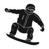 L'athlète avec la veste bleue et le pantalon rouge sur un surf des neiges Surfeur aux actives l'active folâtre l'icône simple Photographie stock