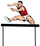L'athlète sautant l'obstacle Images stock