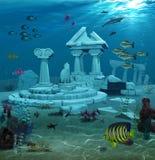 L'Atlantide ruine l'eau du fond Image libre de droits